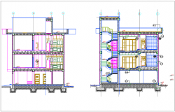 Section with different axis view for apartment building dwg file