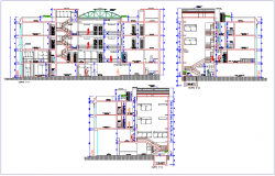 Section with different axis view for commercial building dwg file