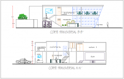 Section with different axis view for cultural center dwg file