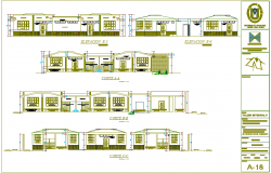 Section with different axis view for education building for child dwg file