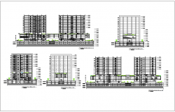 Section with different axis view for finance building dwg file