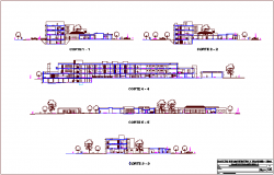 Section with different axis view for hospital building for dwg file