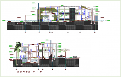 Section with different axis view for house building dwg file
