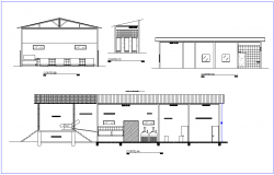 Section with different axis view for industries building dwg file
