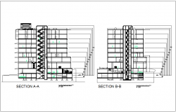 Section with different axis view for mixed used building dwg file