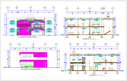 Section with different axis view for municipal building  dwg file
