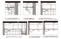 Section with different axis view for residence area building dwg file