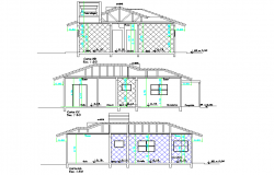 Section wooden house residence plan layout file