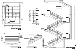 Sectional and elevation details of staircase