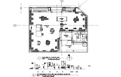 Sectional detail and architectural plan  of a building dwg file