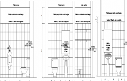 Sectional detail and elevation of a bathroom dwg file