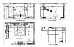 Sectional detail and elevation of a bed