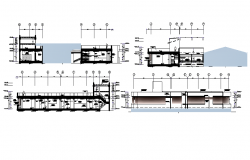 Sectional detail and elevation of a building dwg file