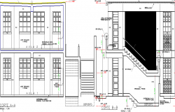 Sectional detail and elevation of a classroom dwg file