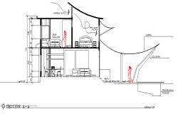 Sectional detail and elevation of a house dwg file