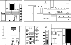 Sectional detail and elevation of a kitchen dwg file