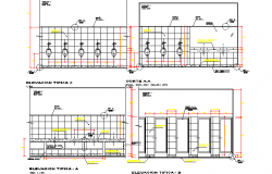 Sectional detail and elevation of a toilet dwg file