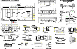 Sectional detail of a chemistry laboratory dwg file