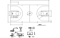 Sectional detail of basket ball court