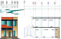Sectional details of a building and its elevation  dwg file