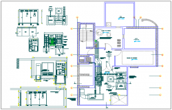 Sectional details of a building dwg file and layout plan