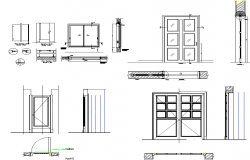 Sectional details of a door and window dwg file