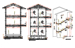 Sectional details of side cuts of school, staircase construction dwg file