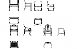 Sectional details of top view and front view of chair