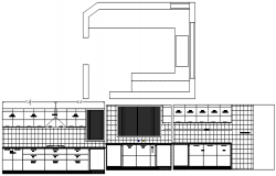 Sectional drawing of kitchen platform design in dwg file