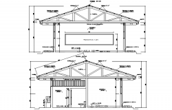 Sectional elevation of a bungalow in autocad