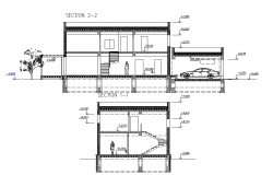 Sectional elevation of a house with level detailing dwg file
