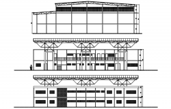 Sectional elevation of a sports center in dwg file