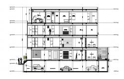 Sectional elevation of apartment
