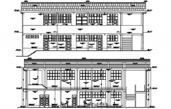 Sectional elevation of collage in dwg file