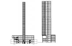 Sectional elevation of hotel in dwg file