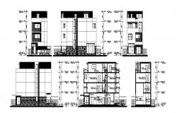 Sectional elevation of residential apartment in autocad