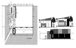 Sectional elevation of restaurant
