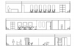 Sectional elevation of saloon layout plan dwg file