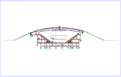 Sectional elevation of stadium dwg file