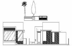 Sectional elevation of the bungalow in dwg file