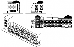 Sectional elevation of the hotel in dwg file