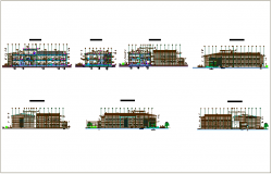 Sectional elevation view of corporate building dwg file