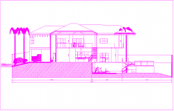 Sectional elevation view of design of house dwg file