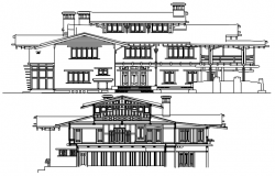 Sectional elevations of bungalow in autocad