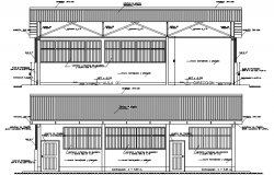 Sectional elevations of bunglow in dwg file