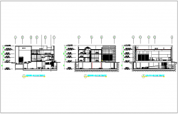 Sectional plan view of restaurant with dimension dwg file