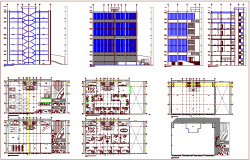 Sectional view and plan of office building dwg file