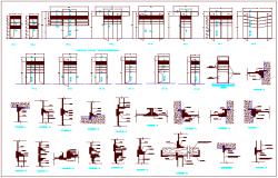 Sectional view detail of door design dwg file