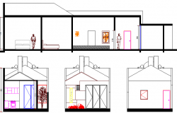 Sectional view details of single family house project dwg file