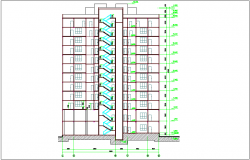 Sectional view of apartment with floor view dwg file